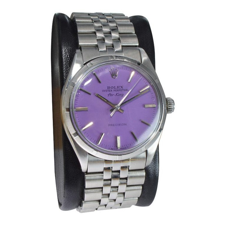 Modern Rolex Steel Oyster Perpetual Air King Custom Purple Dial, From 1966 For Sale