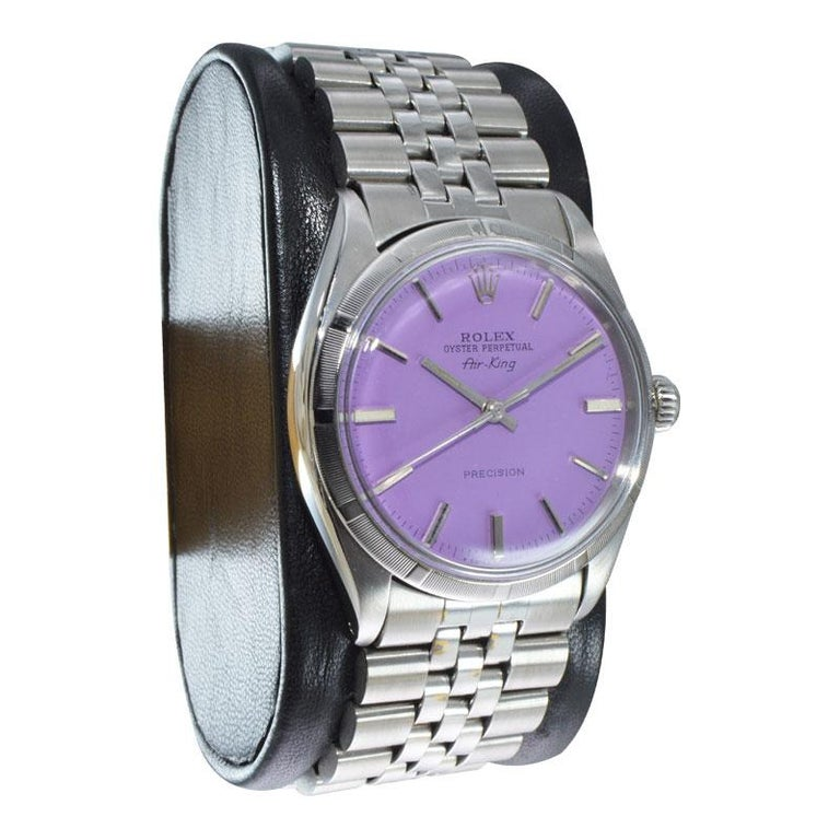 Rolex Steel Oyster Perpetual Air King Custom Purple Dial, From 1966 In Excellent Condition For Sale In Venice, CA