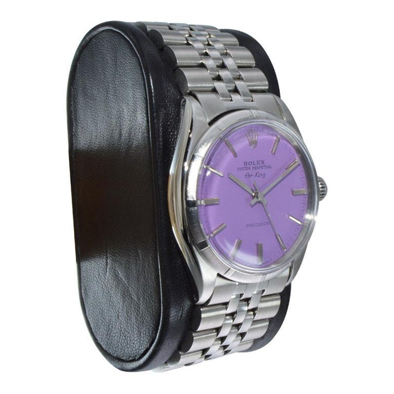 Women's or Men's Rolex Steel Oyster Perpetual Air King Custom Purple Dial, From 1966 For Sale