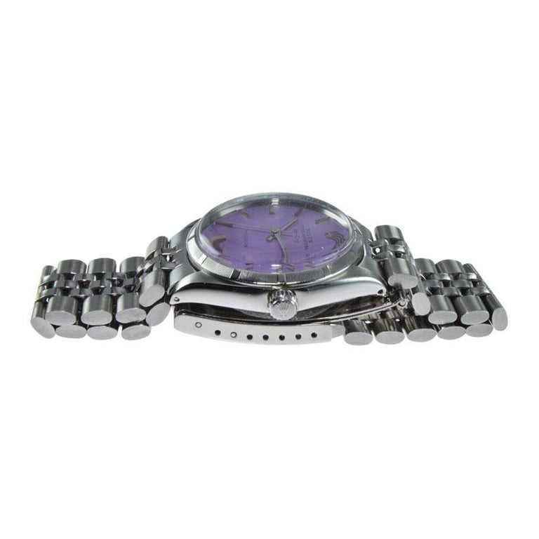 Rolex Steel Oyster Perpetual Air King Custom Purple Dial, From 1966 For Sale 1