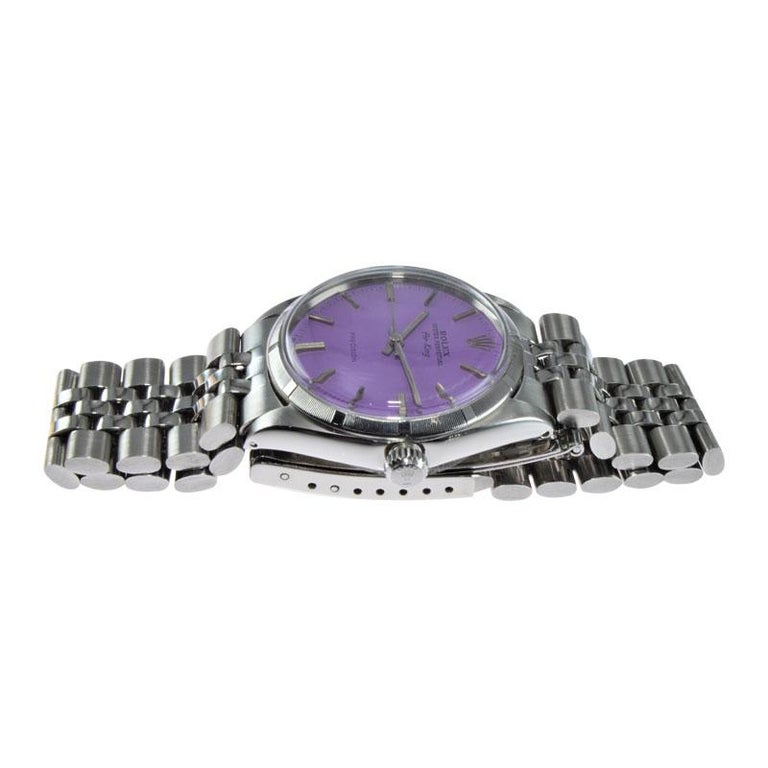 Rolex Steel Oyster Perpetual Air King Custom Purple Dial, From 1966 For Sale 2
