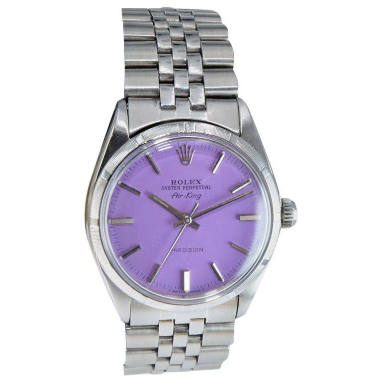 Rolex Steel Oyster Perpetual Air King Custom Purple Dial, From 1966 For Sale