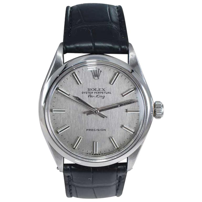 Rolex Steel Oyster Perpetual Air King Ref. 5500 Original Dial from 1973-74 For Sale