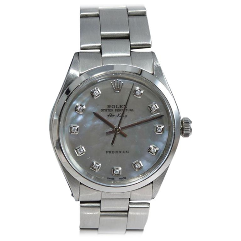 Rolex Steel Oyster Perpetual Air King Custom M.O.P. Diamond Dial, Early 1970's