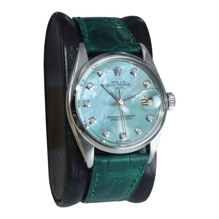 Modern Rolex Steel Oyster Perpetual Date Custom Mother of Pearl Diamond Dial Dated 1965 For Sale
