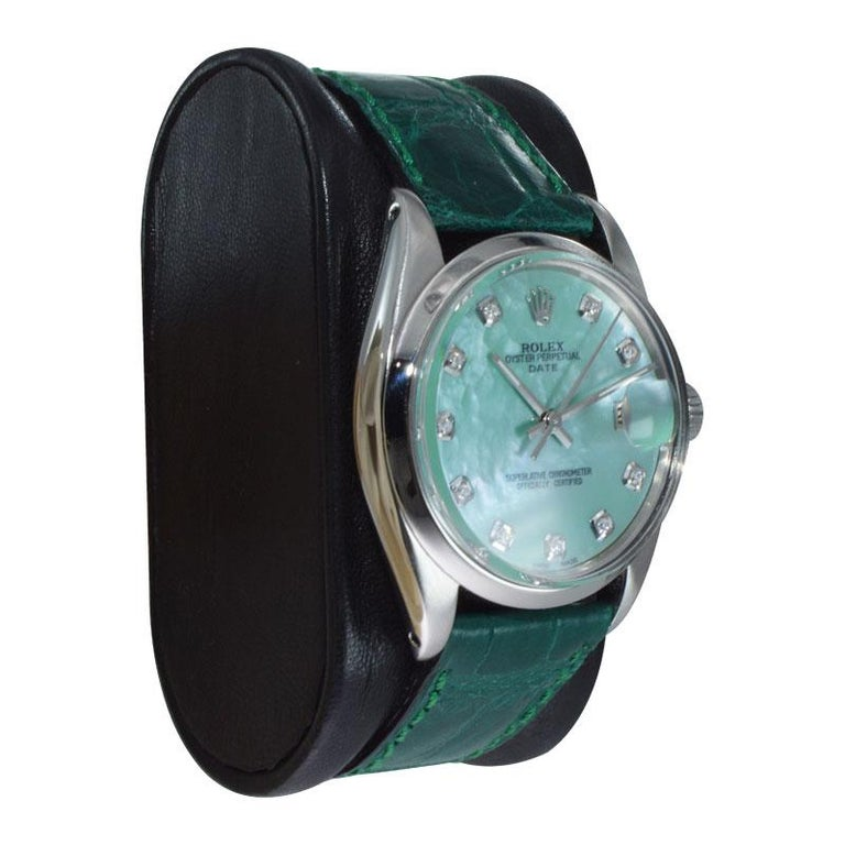 Round Cut Rolex Steel Oyster Perpetual Date Custom Mother of Pearl Diamond Dial Dated 1965 For Sale