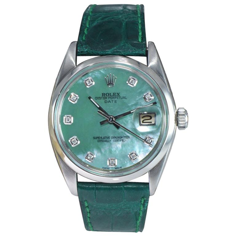 Rolex Steel Oyster Perpetual Date Custom Mother of Pearl Diamond Dial Dated 1965 For Sale