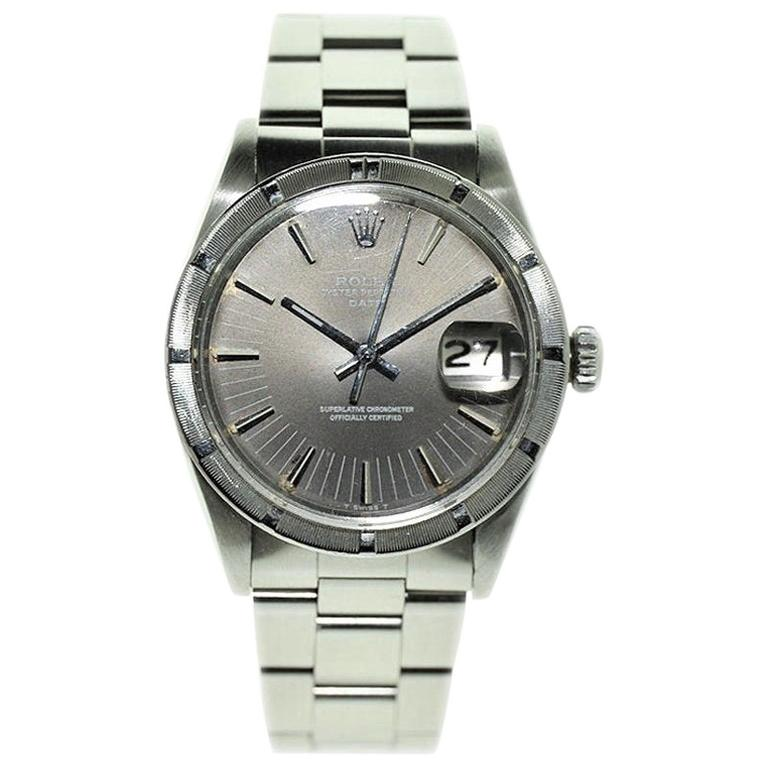 Rolex Steel Oyster Perpetual Date Index Bezel with Rare Dial, circa 1970s