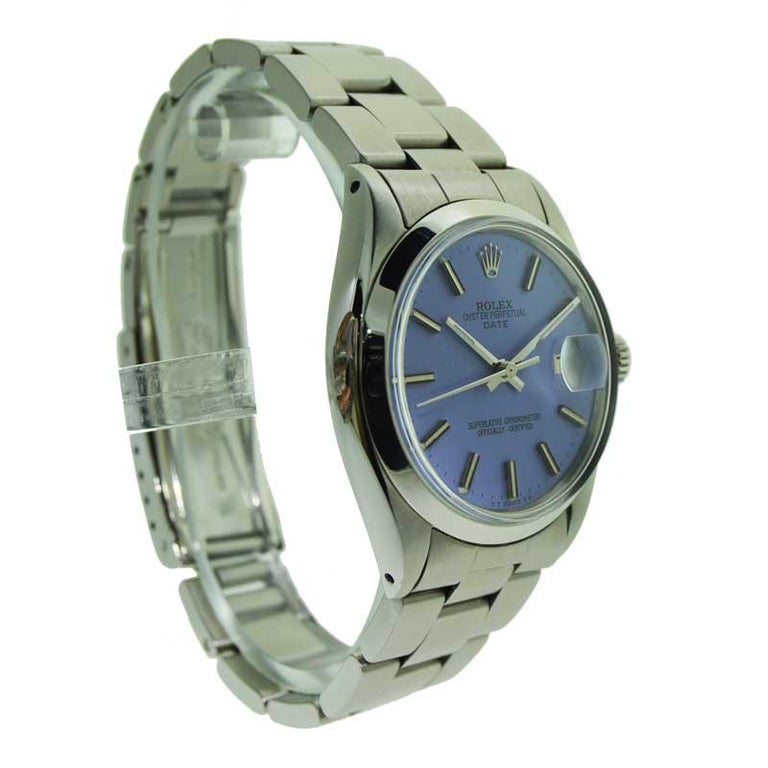 Rolex Steel Oyster Perpetual Date Lavendar Dial, circa 1970s In Excellent Condition In Venice, CA