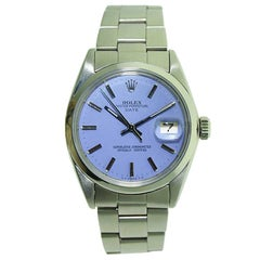 Rolex Steel Oyster Perpetual Date Lavender Dial Circa 1970's