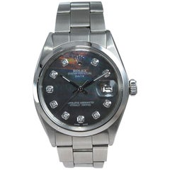 Rolex Steel Oyster Perpetual Date Ref 1500 Custom M.O.P. Diamond Dial from 1970