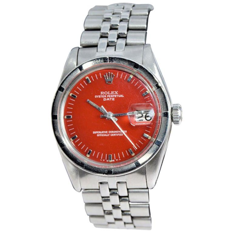 Rolex Steel Oyster Perpetual Date Ref 1500 Custom Red Dial, 1978