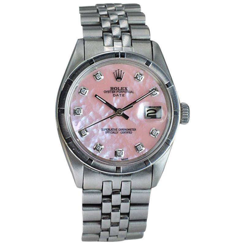 Rolex Steel Oyster Perpetual Date Ref. 1501 Custom M.O.P. Diamond Dial, Early 19