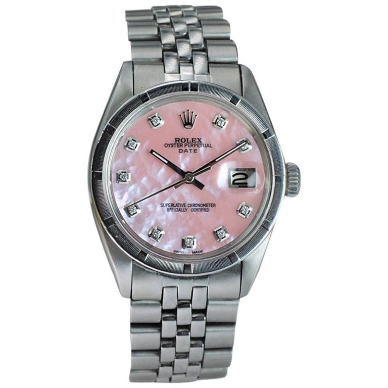 Rolex Steel Oyster Perpetual Date Ref. 1501 Custom M.O.P. Diamond Dial, 1962 For Sale