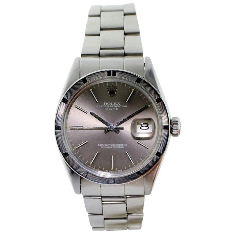 Rolex Steel Oyster Perpetual Date Ref 1501 Original Rare Charcoal Dial from 1972