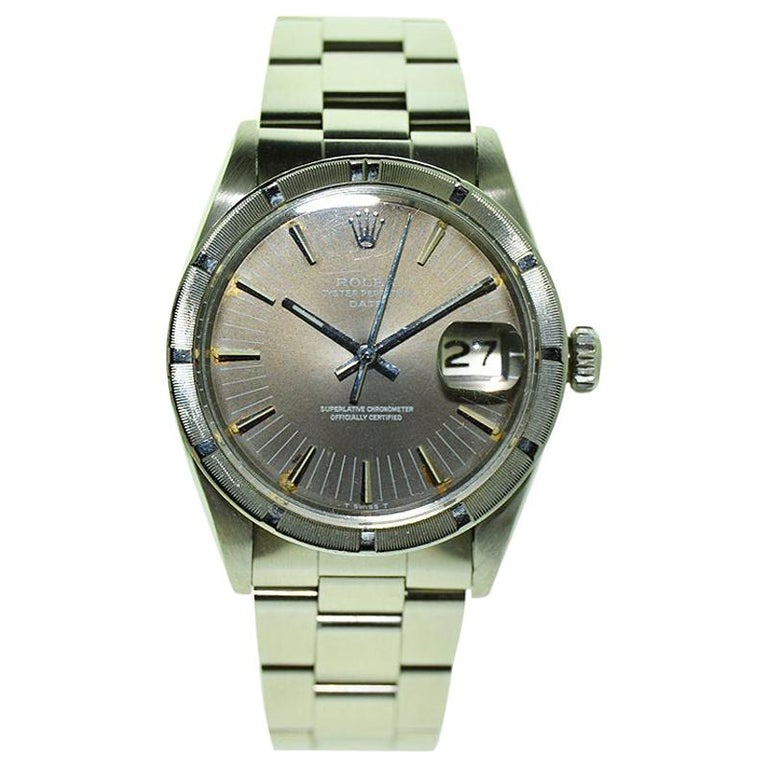 Rolex Steel Oyster Perpetual Date Thunderbird Bezel with Rare Dial, circa 1970s For Sale
