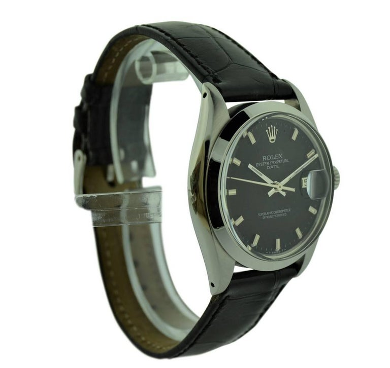 FACTORY / HOUSE: Rolex Watch Company STYLE / REFERENCE: Oyster perpetual Date / 1501 METAL / MATERIAL: Stainless Steel CIRCA: 1970's DIMENSIONS: 42mm X 35mm MOVEMENT / CALIBER: Automatic Winding / 26 Jewels  Cal. 1570 DIAL / HANDS: Original Black
