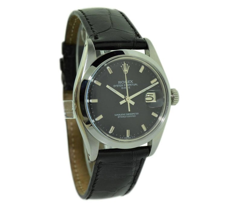 Rolex Steel Oyster Perpetual Date with Rare Black Dial, circa 1970s In Excellent Condition For Sale In Long Beach, CA