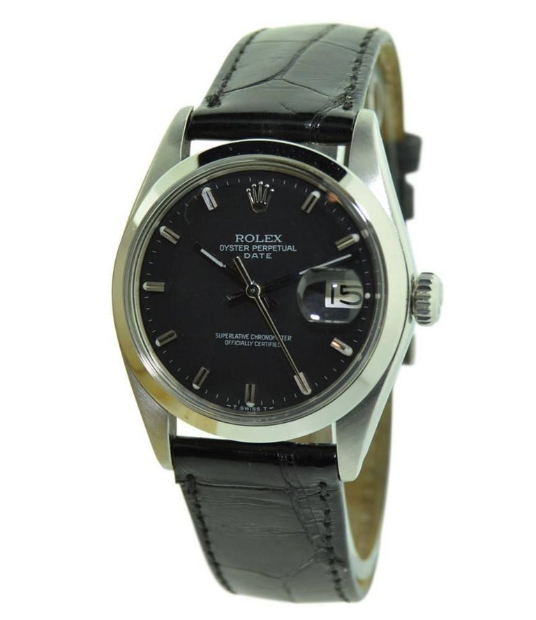 Women's or Men's Rolex Steel Oyster Perpetual Date with Rare Black Dial, circa 1970s For Sale