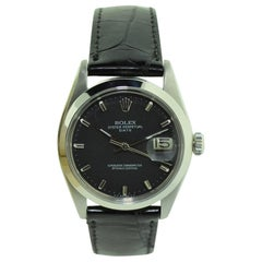 Rolex Steel Oyster Perpetual Date with Rare Black Dial, circa 1970s