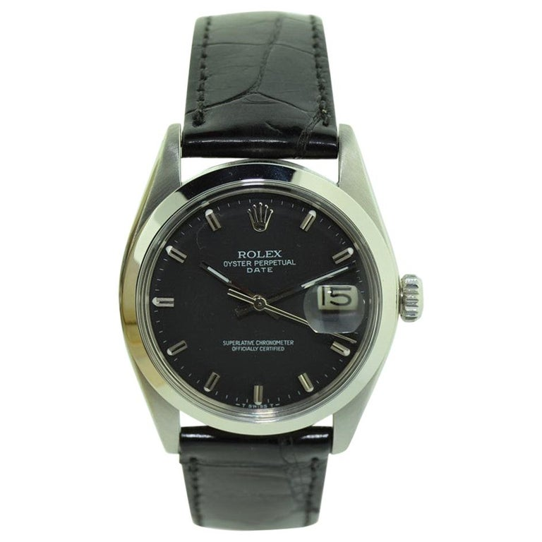 Rolex Steel Oyster Perpetual Date with Rare Black Dial, circa 1970s For Sale