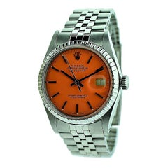Rolex Steel Oyster Perpetual Datejust Custom Orange Dial, circa 1970s