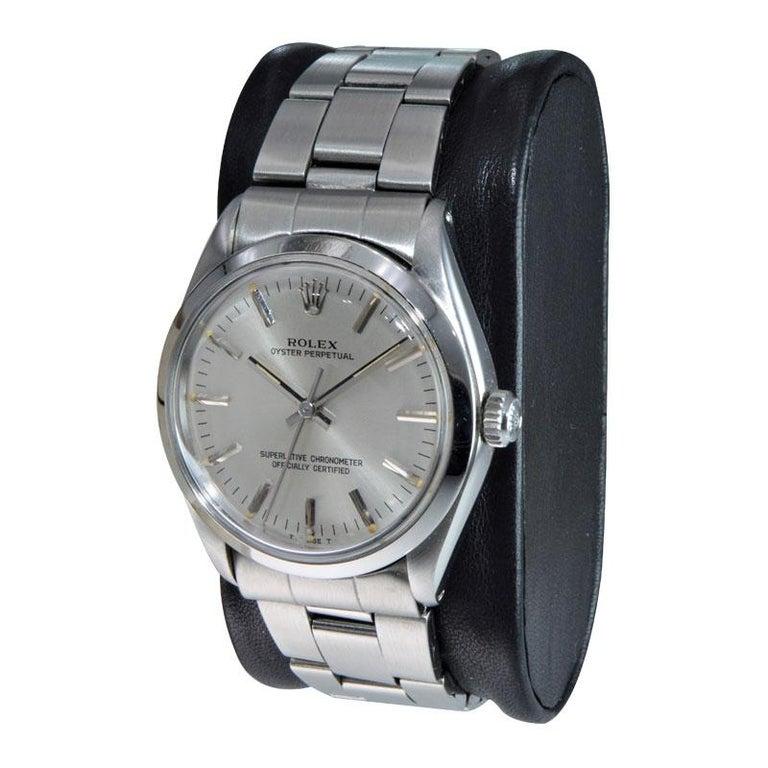 Modern Rolex Steel Oyster Perpetual Original Dial Original Bracelet, from 1986-1987 For Sale
