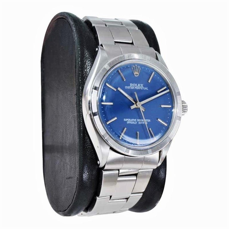 Rolex Steel Oyster Perpetual Thunderbird Bezel Custom Blue Dial, Early 1970's In Excellent Condition For Sale In Long Beach, CA