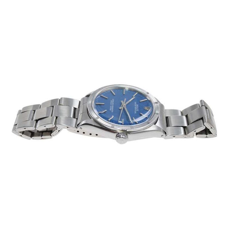Rolex Steel Oyster Perpetual Thunderbird Bezel Custom Blue Dial, Early 1970's For Sale 1