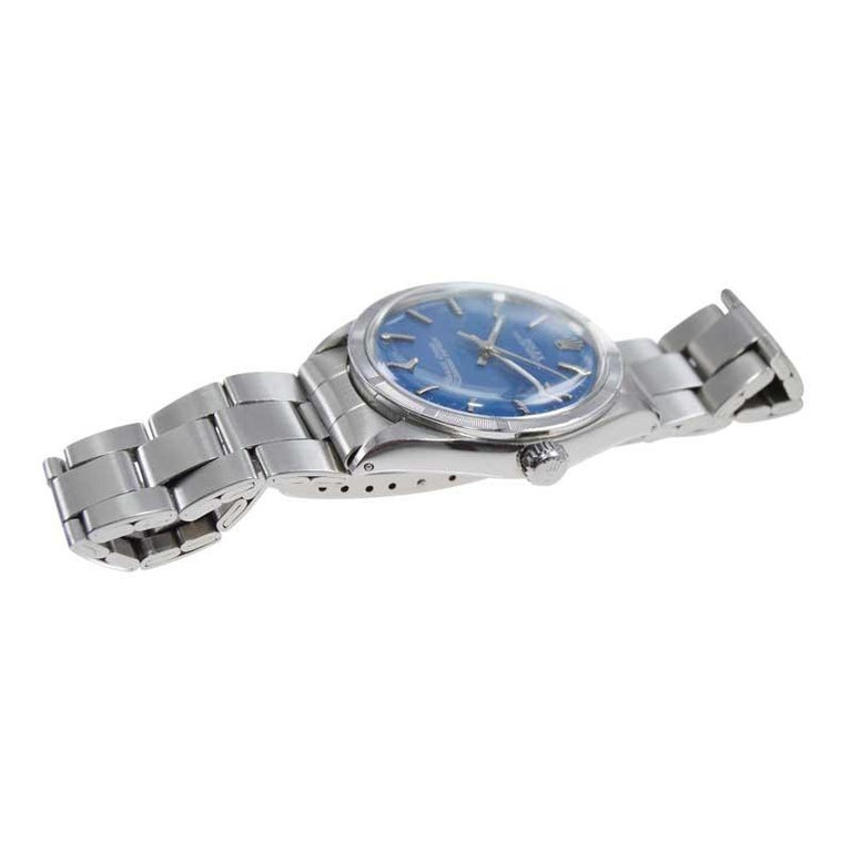 Rolex Steel Oyster Perpetual Thunderbird Bezel Custom Blue Dial, Early 1970's For Sale 2