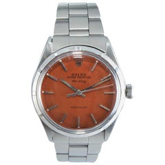 Rolex Steel Oyster Perpetual with Custom Orange Dial Dated 1970