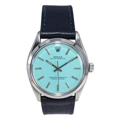 Rolex Steel Oyster Perpetual with Custom Blue Dial, circa 1980's