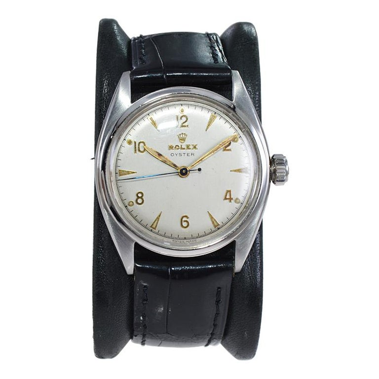 FACTORY / HOUSE: Rolex Watch Company STYLE / REFERENCE: Oyster / Ref. 4365 METAL / MATERIAL: Stainless Steel  CIRCA / YEAR: 1946 DIMENSIONS: 39 mm X 34 mm MOVEMENT / CALIBER: Manual Winding / 17 Jewels / Cal. 10 1/2 H DIAL / HANDS: Original Silvered