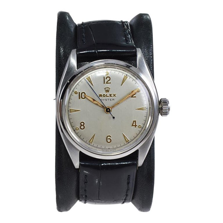 Art Deco Rolex Steel Oyster with Rare Original Dial from 1946 For Sale