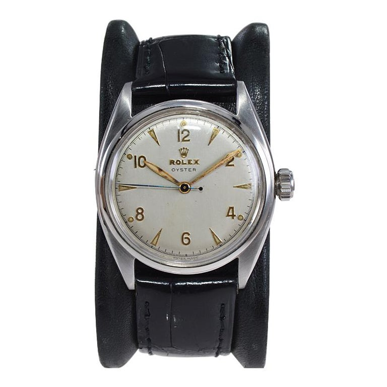 Rolex Steel Oyster with Rare Original Dial from 1946 In Excellent Condition For Sale In Long Beach, CA