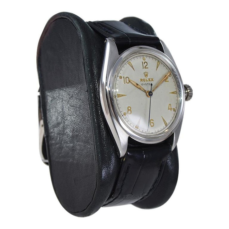 Women's or Men's Rolex Steel Oyster with Rare Original Dial from 1946 For Sale
