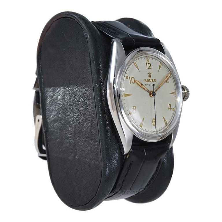 Rolex Steel Oyster with Rare Original Dial from 1946 For Sale 1
