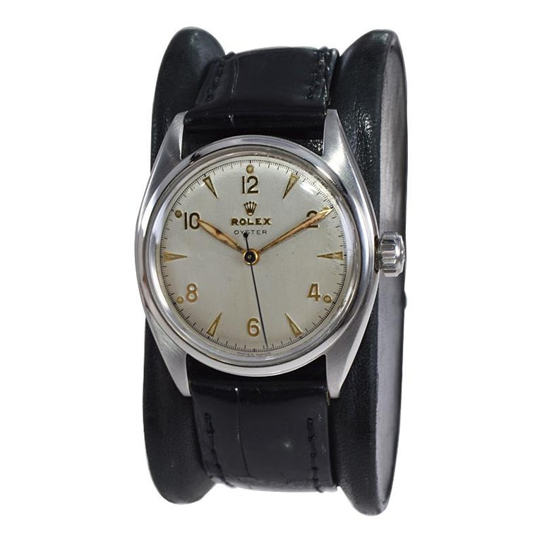 Rolex Steel Oyster with Rare Original Dial from 1946 For Sale 2