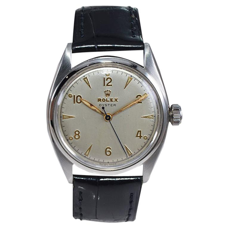 Rolex Steel Oyster with Rare Original Dial from 1946 For Sale