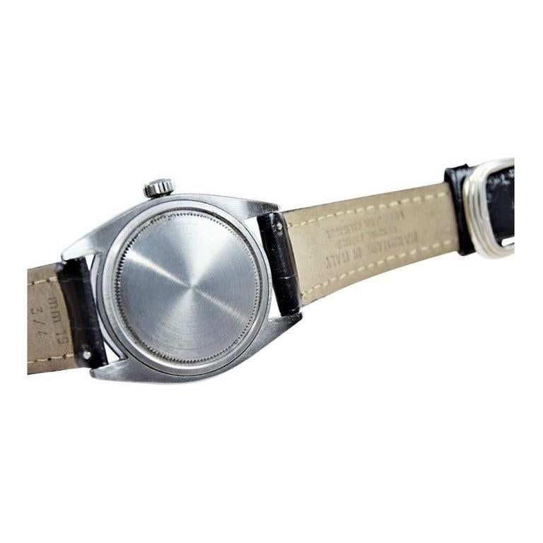 Rolex Steel Oysterdate Black Dial Watch, circa 1969 For Sale 6