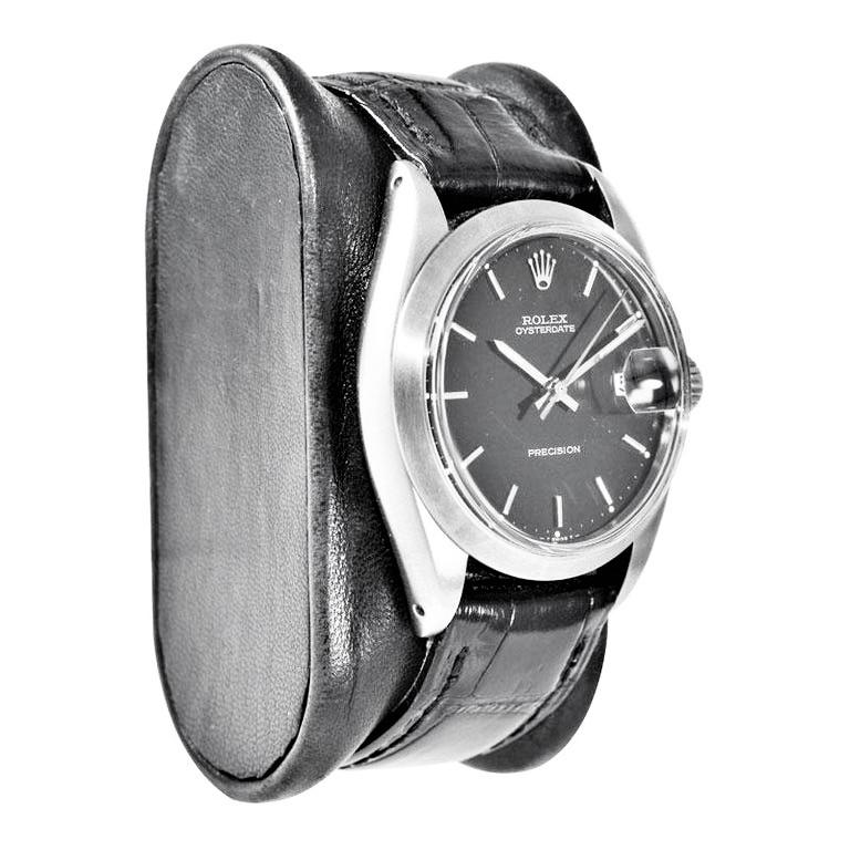 Rolex Steel Oysterdate Black Dial Watch, circa 1969 In Excellent Condition For Sale In Venice, CA
