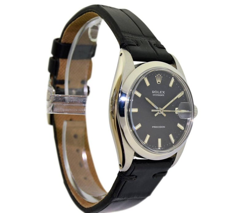 Women's or Men's Rolex Steel Oysterdate Black Dial Watch, circa 1969 For Sale