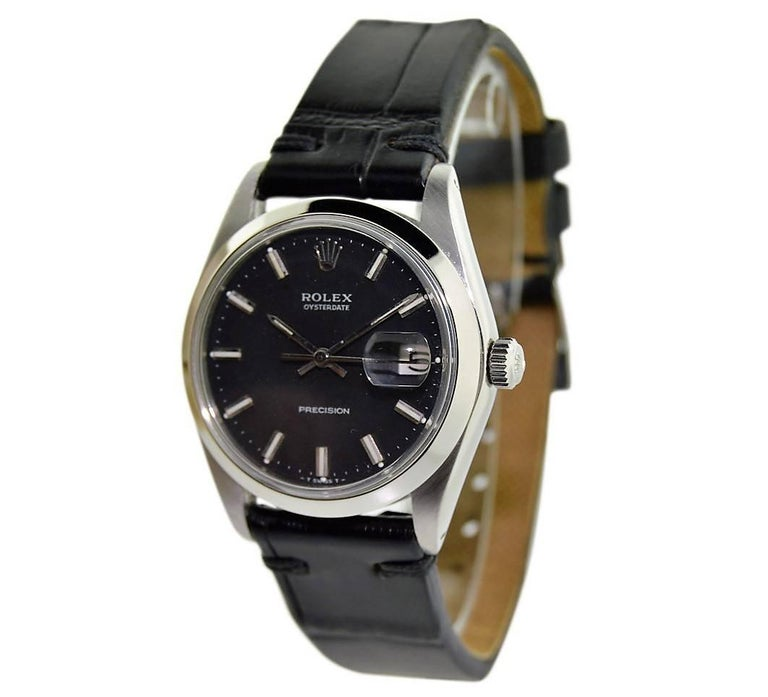Rolex Steel Oysterdate Black Dial Watch, circa 1969 For Sale 1