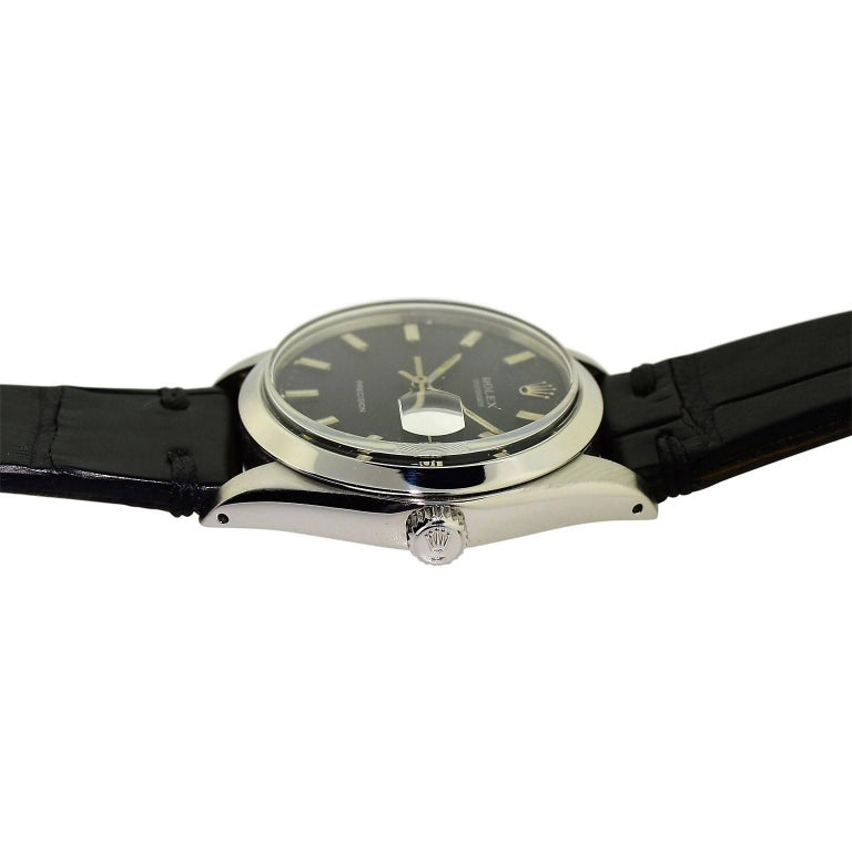 Rolex Steel Oysterdate Black Dial Watch, circa 1969 For Sale 2