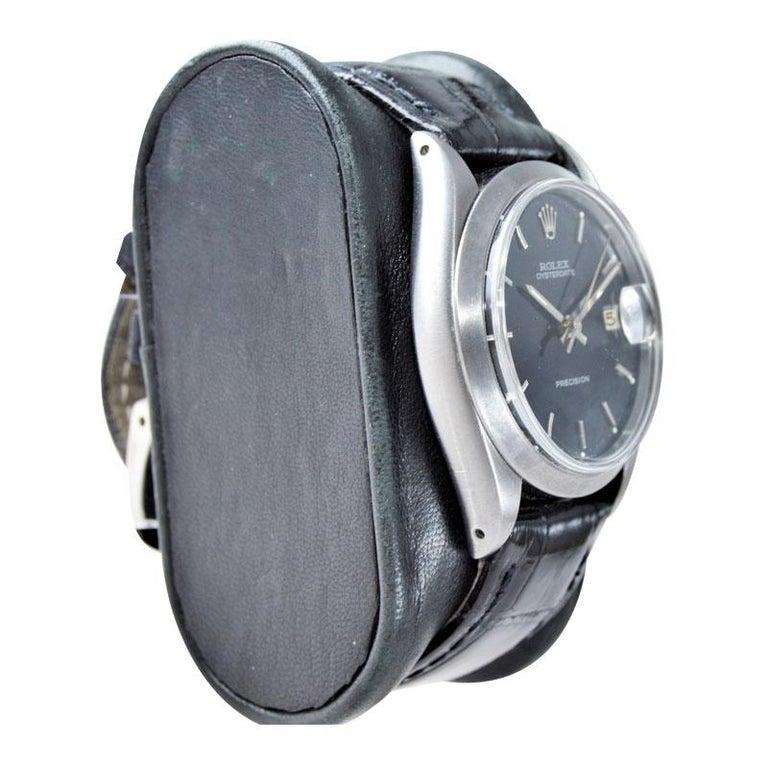 Rolex Steel Oysterdate Black Dial Watch, circa 1969 For Sale 2