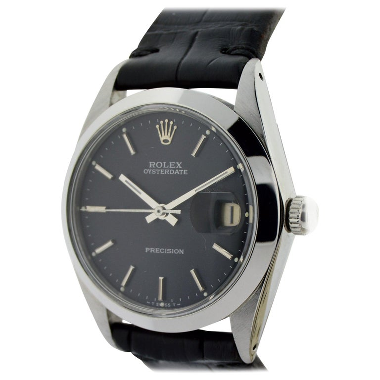 Rolex Steel Oysterdate Black Dial Watch, circa 1976 For Sale