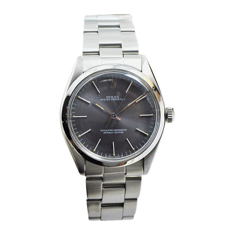Rolex Steel Perpetual with Original Charcoal Dial, Service Papers, Early 1960's For Sale