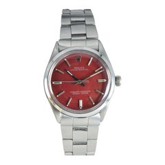 Rolex Steel with Custom Red Dial and Original Oyster Bracelet, circa 1975