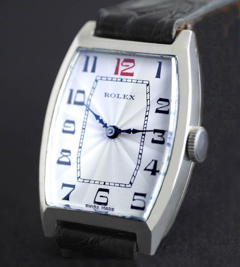 Rolex Sterling Silver Art Deco Tonneau Wristwatch, 1926 In Excellent Condition In London, GB