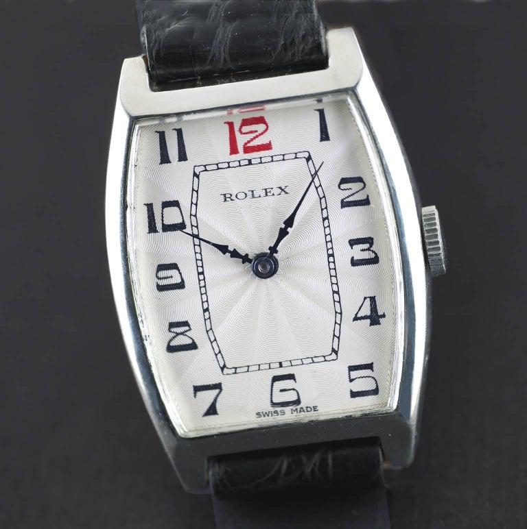 Women's or Men's Rolex Sterling Silver Art Deco Tonneau Wristwatch, 1926